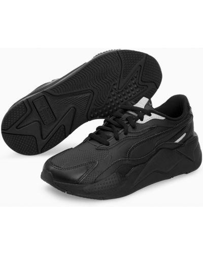Кожаные черные кроссовки беговые с перфорацией для бега Puma