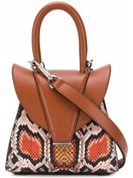 Коричневая кожаная сумка круглая с карманами с тиснением Elena Ghisellini