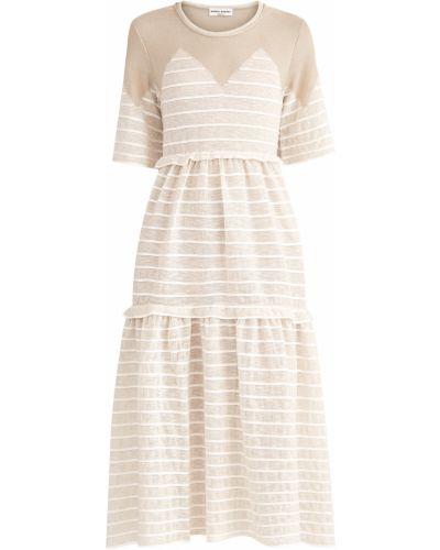 Платье миди в полоску с драпировкой Sonia Rykiel