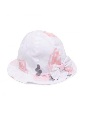 Biały kapelusz bawełniany w kwiaty Emporio Armani Kids