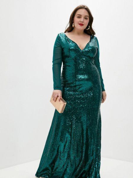 Зеленое вечернее платье Goddiva Size Plus