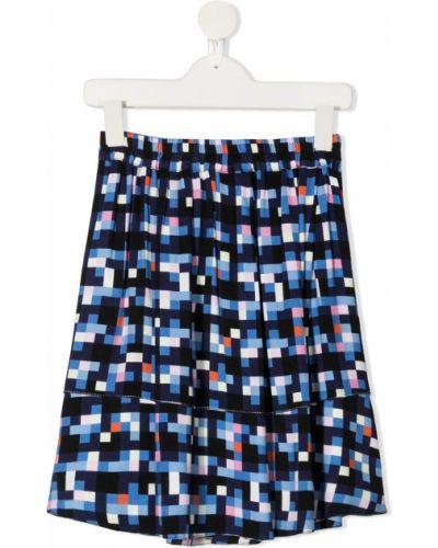 Расклешенная синяя юбка из вискозы Marni Kids