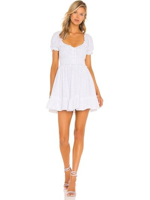 Sukienka mini elegancka - biała Majorelle