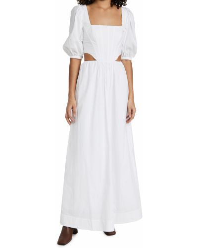 Белое платье с декольте с подкладкой Staud