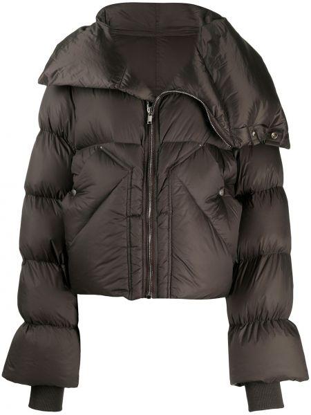 Хлопковый коричневый пуховик с карманами Rick Owens