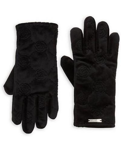 Бархатные теплые черные перчатки Karl Lagerfeld Paris