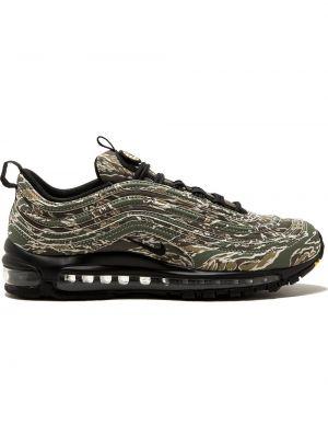 Зеленые кроссовки с заплатками на шнуровке Nike