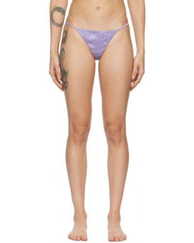 Фиолетовые шелковые стринги стрейч Fleur Du Mal