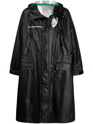 Czarny płaszcz z kapturem z długimi rękawami Undercover