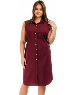 Летнее платье бордовый на пуговицах Liza Fashion