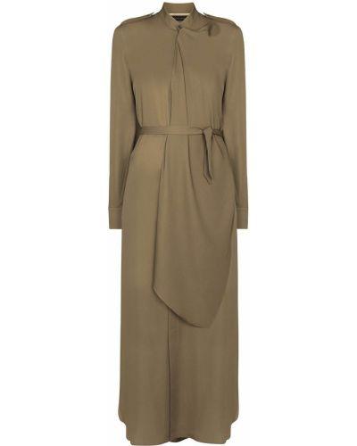 Шелковое платье макси - зеленое Roland Mouret