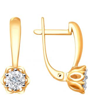 Золотые серьги английский серебряный Sokolov