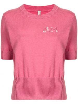 Кашемировый розовый джемпер с вышивкой с круглым вырезом Antonio Marras