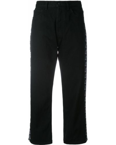 Укороченные джинсы расклешенные черные Marcelo Burlon. County Of Milan