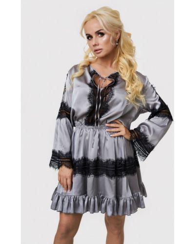Вечернее платье осеннее серое Luxlook
