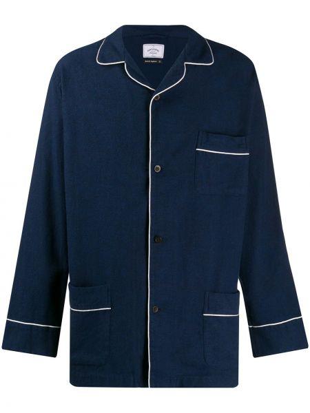Темно-синяя фланелевая рубашка с воротником Portuguese Flannel