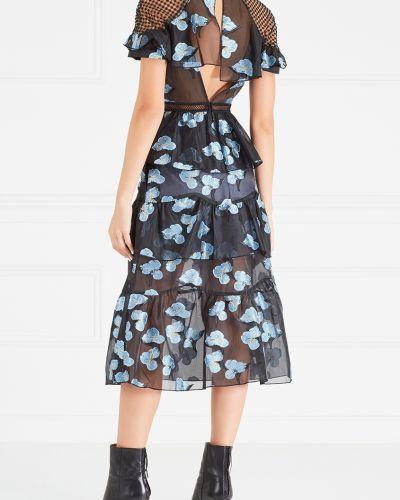 Платье миди с вышивкой с декольте Self-portrait