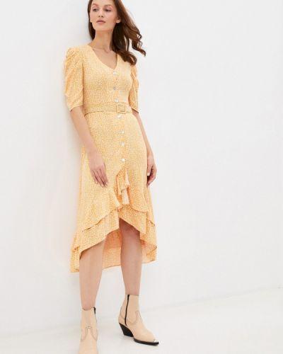 Прямое желтое платье Mondigo