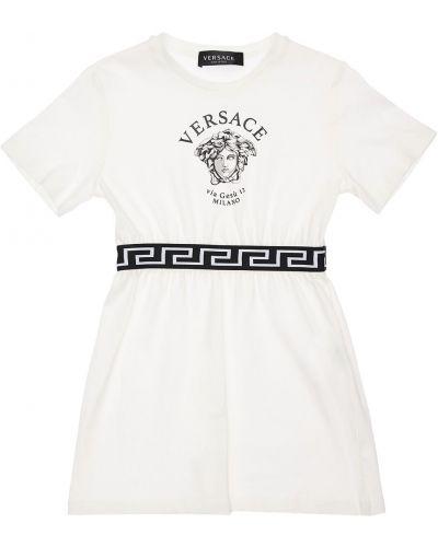 Biała sukienka bawełniana z printem Versace