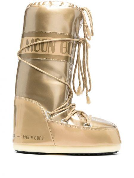 Водонепроницаемые желтые сапоги на шнуровке Moon Boot