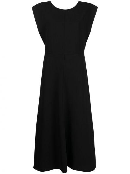 Шелковое платье миди - черное Joseph