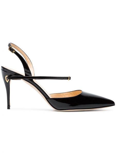 Кожаные лаковые черные туфли-лодочки с пряжкой Jennifer Chamandi