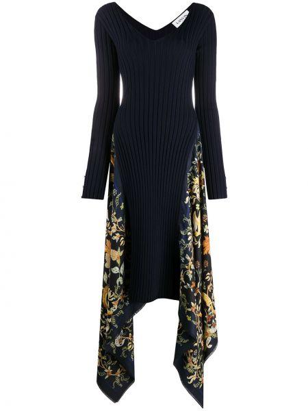 Трикотажное синее платье макси в цветочный принт Lanvin