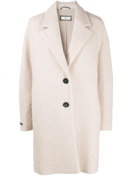 Однобортное с рукавами шерстяное длинное пальто Peserico