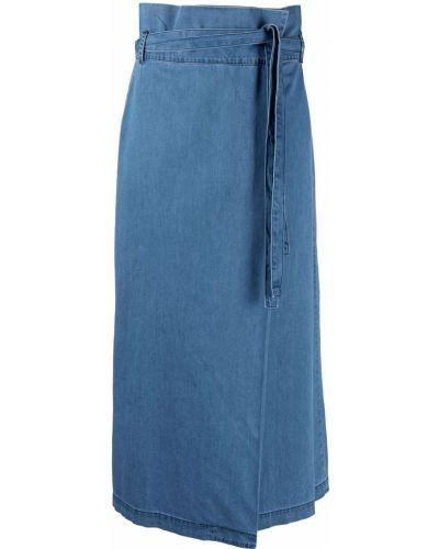С завышенной талией синяя джинсовая юбка с перьями Federica Tosi