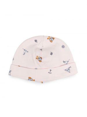 Różowy kapelusz bawełniany z printem Ralph Lauren Kids