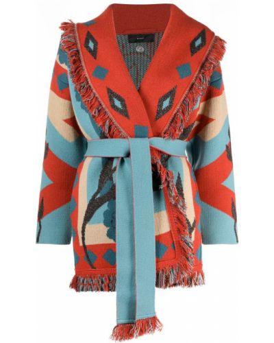 Красное кашемировое длинное пальто с опушкой Alanui