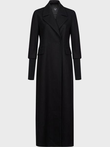 Черное кашемировое пальто на кнопках Frankie Morello