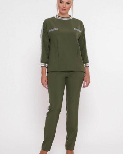 Брючный костюм зеленый хаки Vlavi