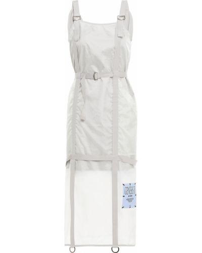 Текстильное серое платье миди с заплатками Mcq Alexander Mcqueen