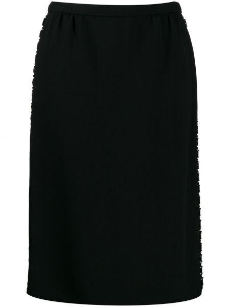 Черная юбка миди в рубчик Louis Vuitton Pre-owned