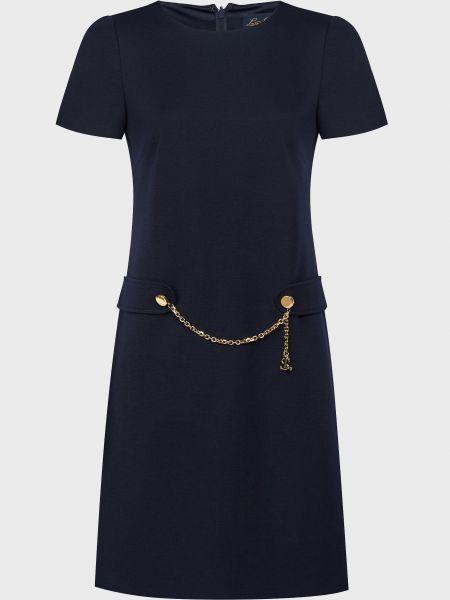 Шерстяное синее платье на молнии Luisa Spagnoli