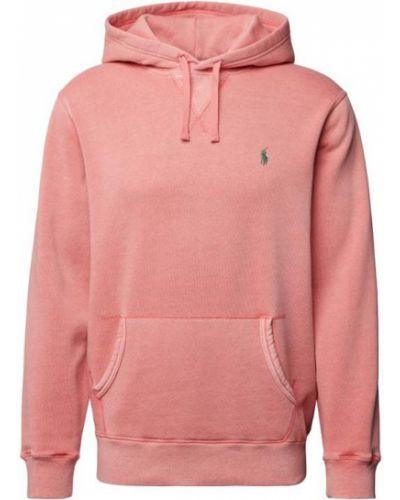 Różowa bluza kangurka z kapturem bawełniana Polo Ralph Lauren
