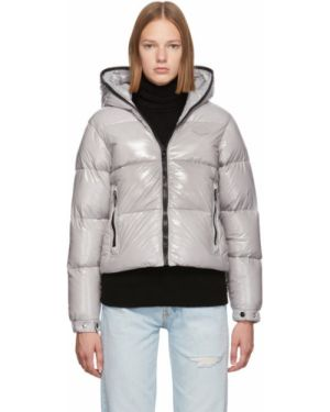 Пуховое коралловое стеганое пальто с капюшоном Duvetica