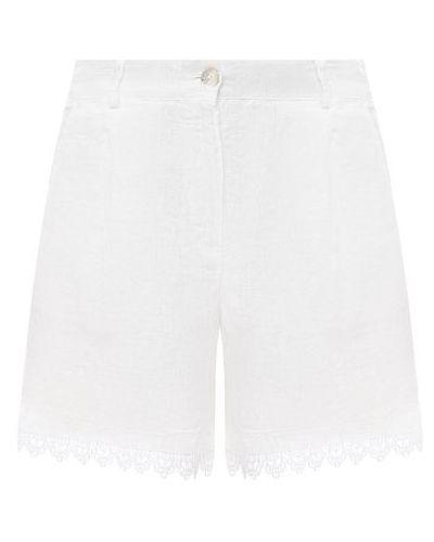 Льняные шорты - белые La Fabbrica Del Lino
