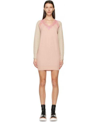 Кружевное розовое платье макси с длинными рукавами Stella Mccartney