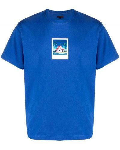 Niebieski t-shirt bawełniany krótki rękaw Clot
