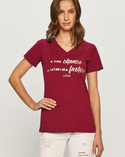 Fioletowy t-shirt bawełniany na co dzień Liu Jo