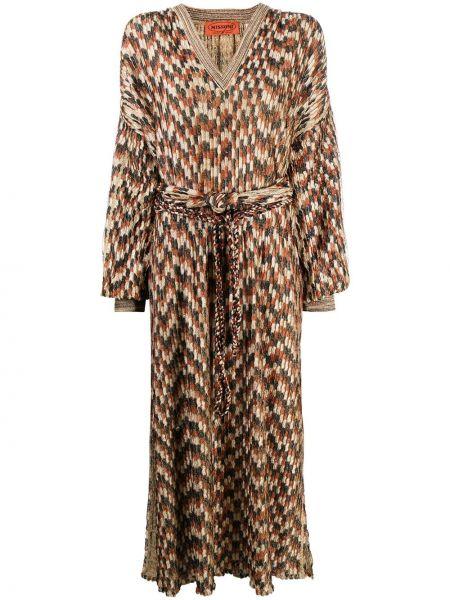 Коричневое платье с рукавами с V-образным вырезом с манжетами с поясом Missoni Pre-owned
