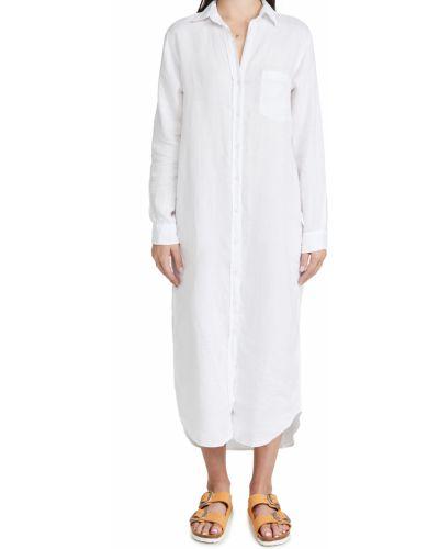 Белое платье макси с длинными рукавами с декольте Frank & Eileen