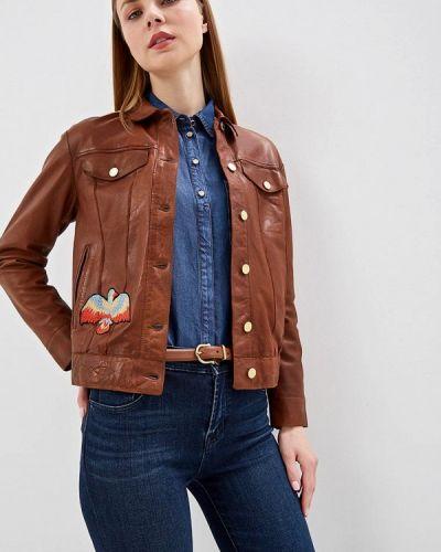 Кожаная куртка весенняя коричневая Blouson