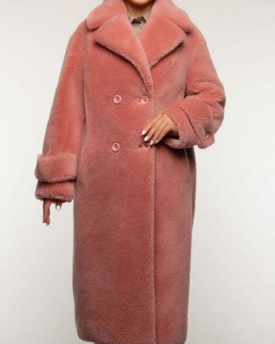 Красное шерстяное пальто с воротником Aliance Fur
