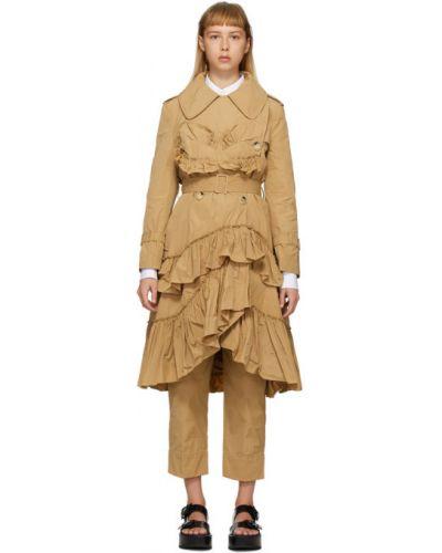 Długi płaszcz z paskiem asymetryczny z długimi rękawami Simone Rocha