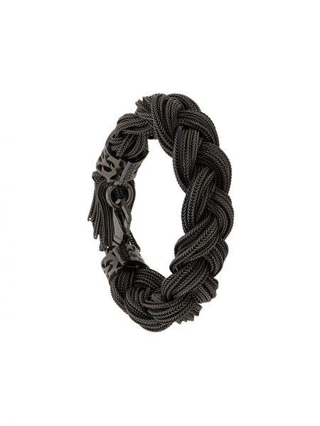 Плетеный браслет черный Emanuele Bicocchi