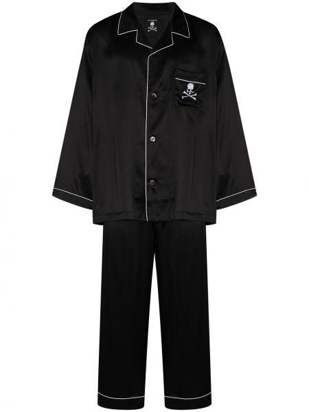 Prosto piżama czarny piżama z długimi rękawami Mastermind Japan