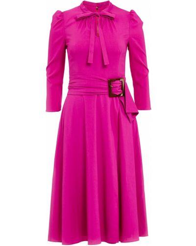 Платье миди с длинными рукавами с поясом приталенное Dolce&gabbana